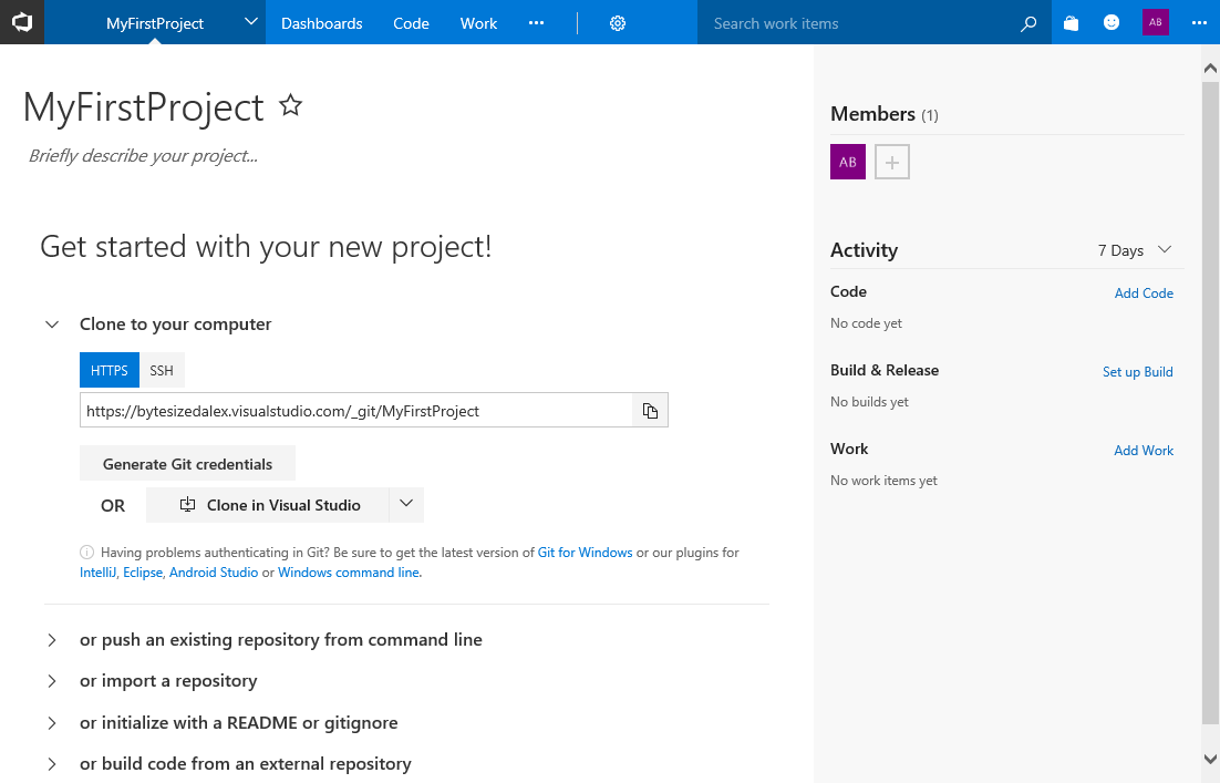VSTS MyFirstProject Default Page