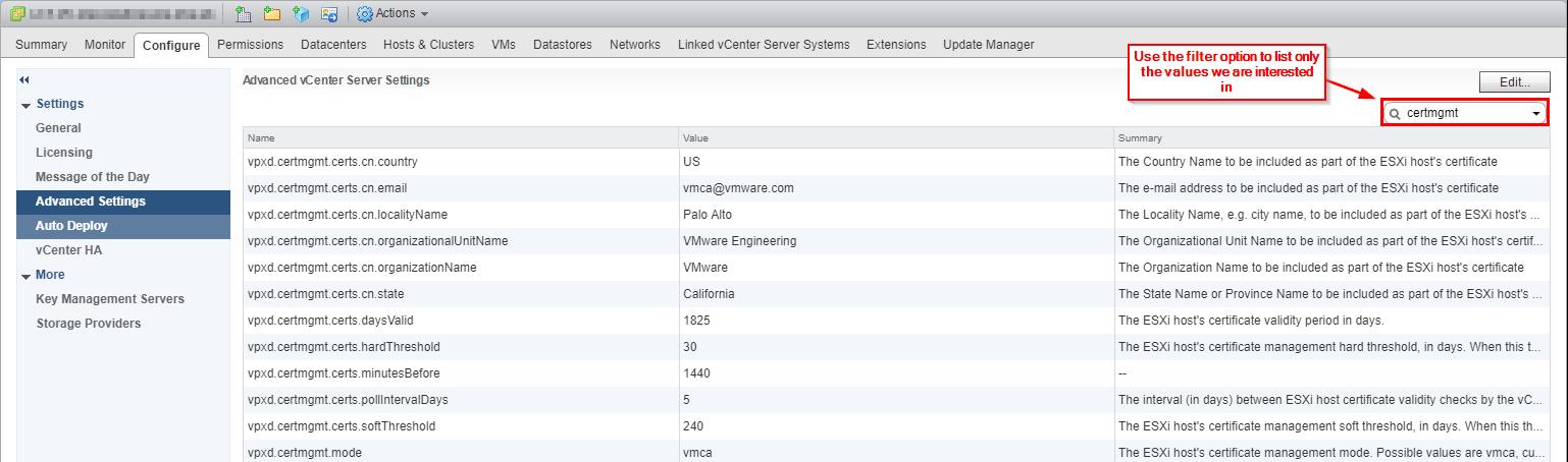 VMware vCenter Certificate Management Default Values Flash Client View Settings