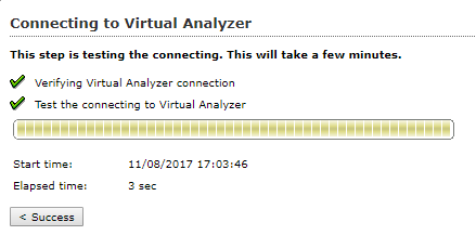 Connecting to Virtual Analyser Success