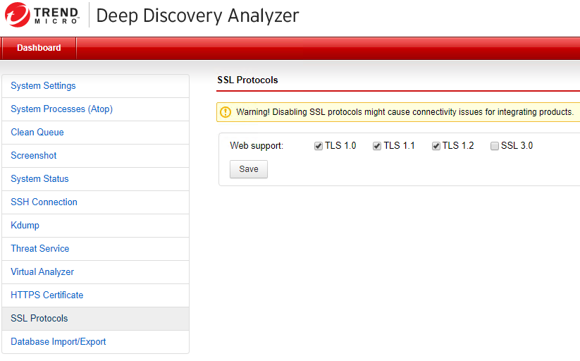 Deep Discovery Analyser SSL Protocols