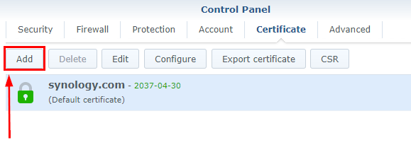 Synology Control Panel Security Certificate Add