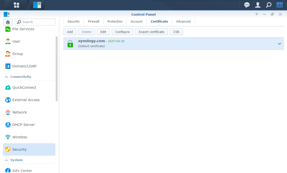 Synology Control Panel Security Certificate Default Install State