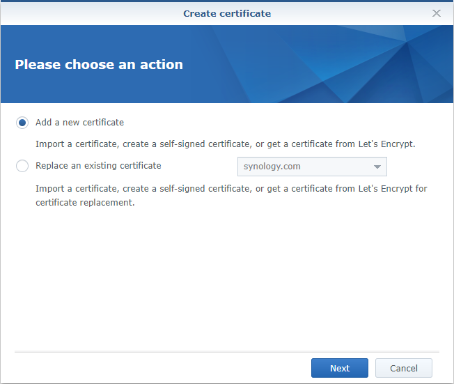 Synology Create Certificate Add a New Certificate