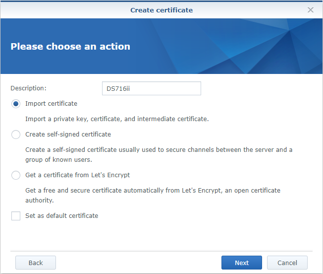 Synology Create Certificate Import Certificate