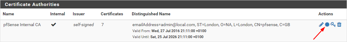 pfSense System Certificate Manager CAs Export CA