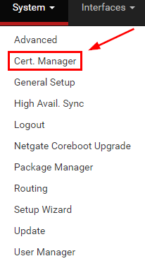pfSense System Certificate Manager