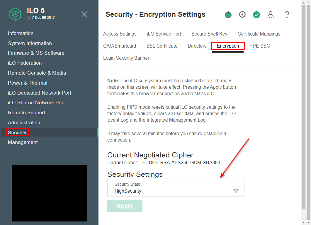 iLO 5 Security Encryption Settings
