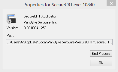 Properties for SecureCRT.exe