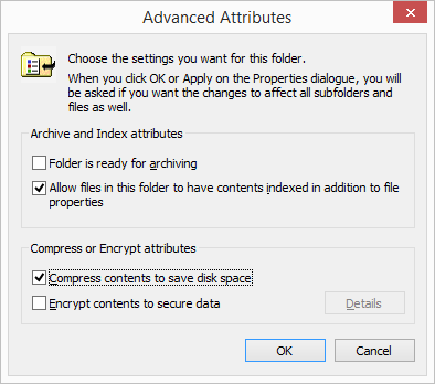 Advanced Attributes Compress contents to save disk space selected