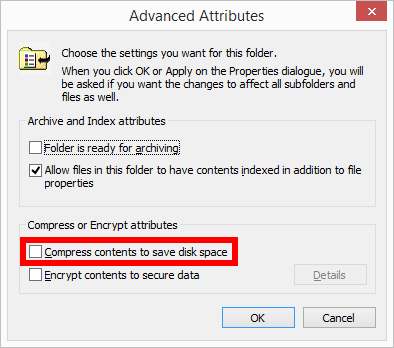 Advanced Attributes Compress contents to save disk space