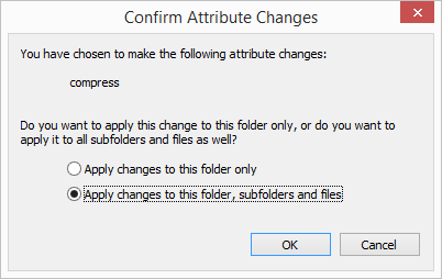 Compress Symbols Folder Confirm Attribute Changes Apply changes to this folder, subfolders and files