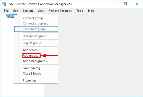 Remote Desktop Connection Manager Add Group