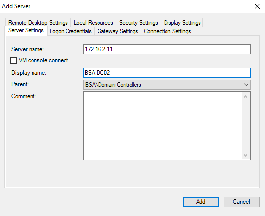 Remote Desktop Connection Manager Add Second Server Menu