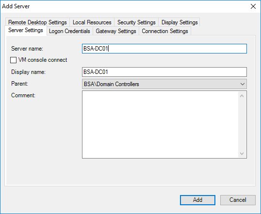 Remote Desktop Connection Manager Add Server Menu