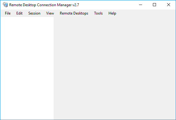 Remote Desktop Connection Manager Initial State