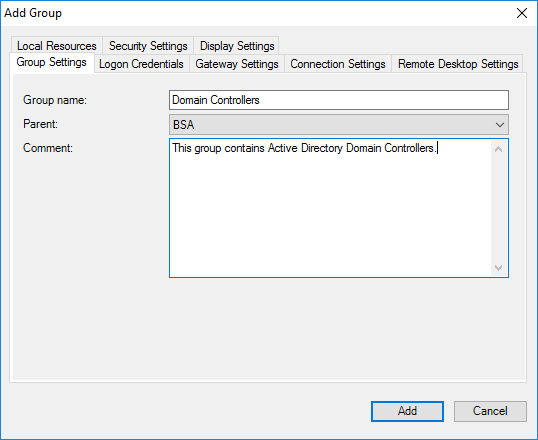 Remote Desktop Connection Manager New Group - Group Settings