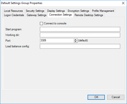 Default Settings Group Properties - Connection Settings