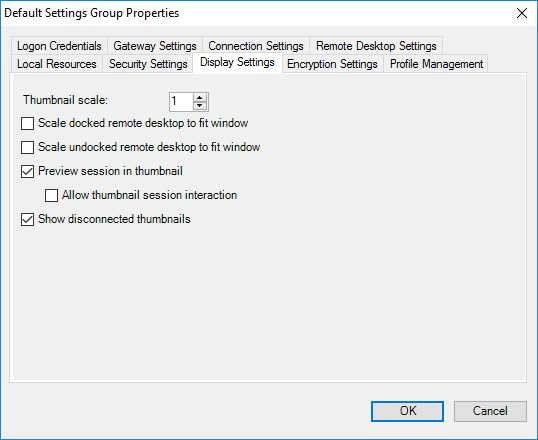 Default Settings Group Properties - Display Settings