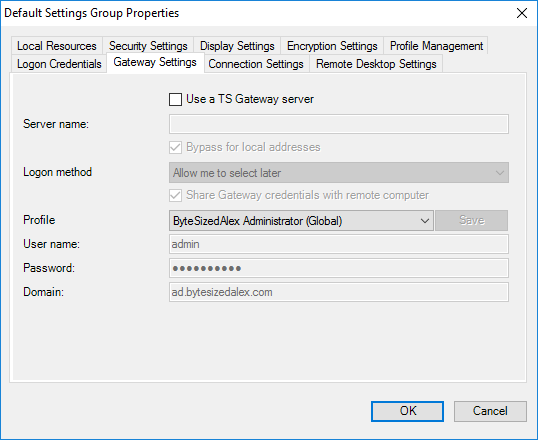 Default Settings Group Properties - Gateway Settings