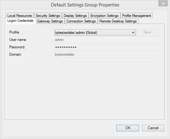Default Settings Group Properties - Logon Credentials