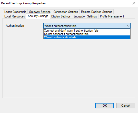 Default Settings Group Properties - Security Settings