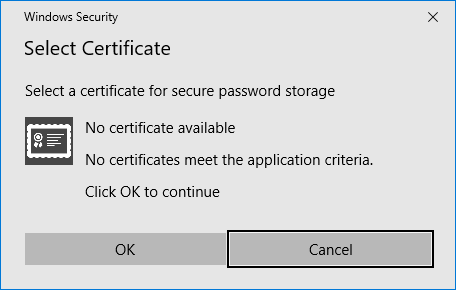 Remote Desktop Connection Manager Tools Option Menu - Encryption Settings - No Certificate Present