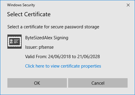 Remote Desktop Connection Manager Tools Option Menu - Encryption Settings - Valid Certificate Present