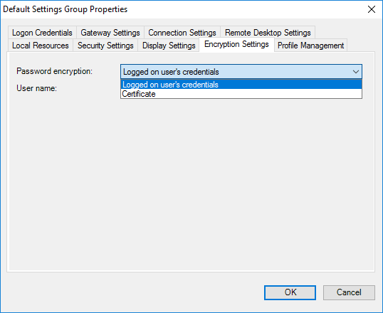 Remote Desktop Connection Manager Tools Option Menu - Encryption Settings