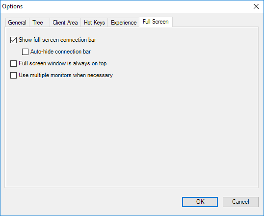 Remote Desktop Connection Manager Tools Option Menu - Full Screen