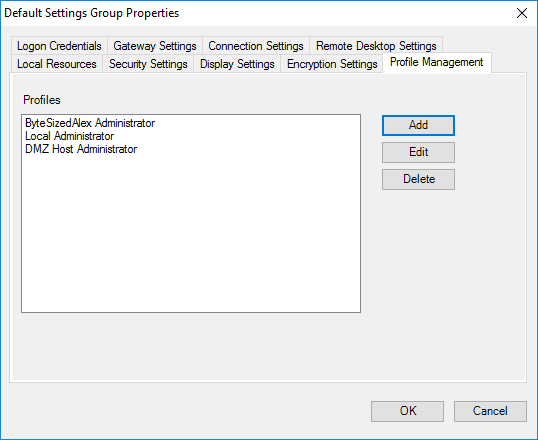 Remote Desktop Connection Manager Tools Option Menu - Profile Management - Populated