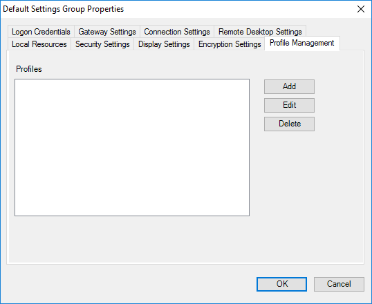 Remote Desktop Connection Manager Tools Option Menu - Profile Management