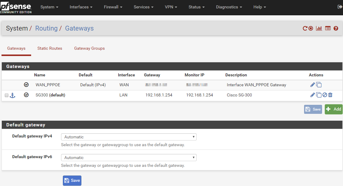 pfSense System Routing Gateways Automatic Default Gateway Defaults