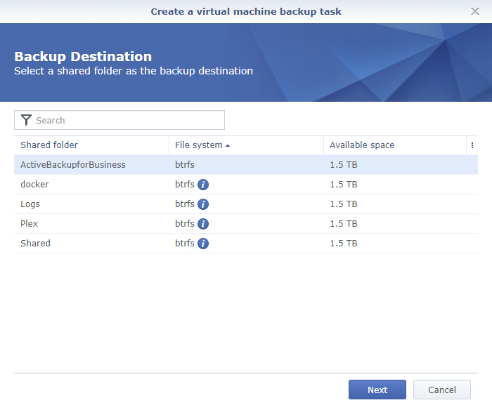 Synology Active Backup for Business Create a Virtual Machine Backup Task Backup Destination