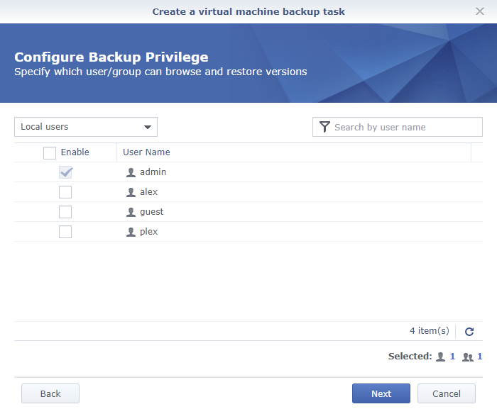 Synology Active Backup for Business Create a Virtual Machine Backup Task Configure Backup Privilege
