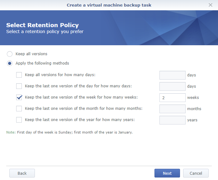 Synology Active Backup for Business Create a Virtual Machine Backup Task Retention Policy