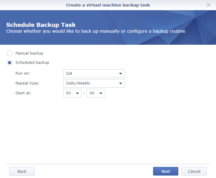Synology Active Backup for Business Create a Virtual Machine Backup Task Schedule Backup Task
