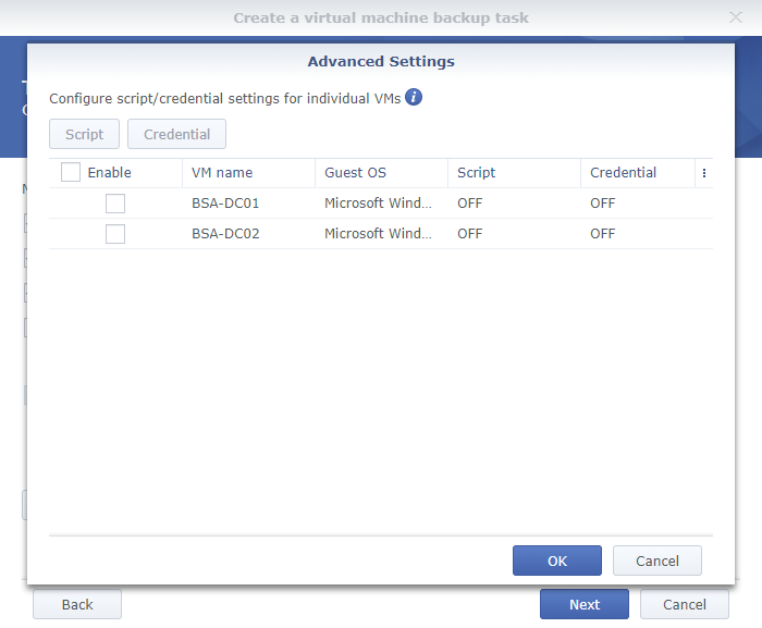 Synology Active Backup for Business Create a Virtual Machine Backup Task Task Settings Page 2 Advanced Settings