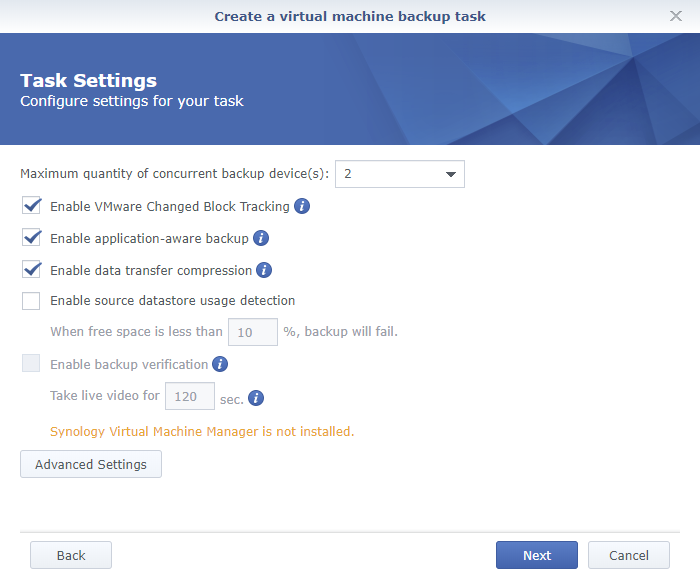 Synology Active Backup for Business Create a Virtual Machine Backup Task Task Settings Page 2
