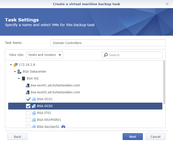 Synology Active Backup for Business Create a Virtual Machine Backup Task Task Settings