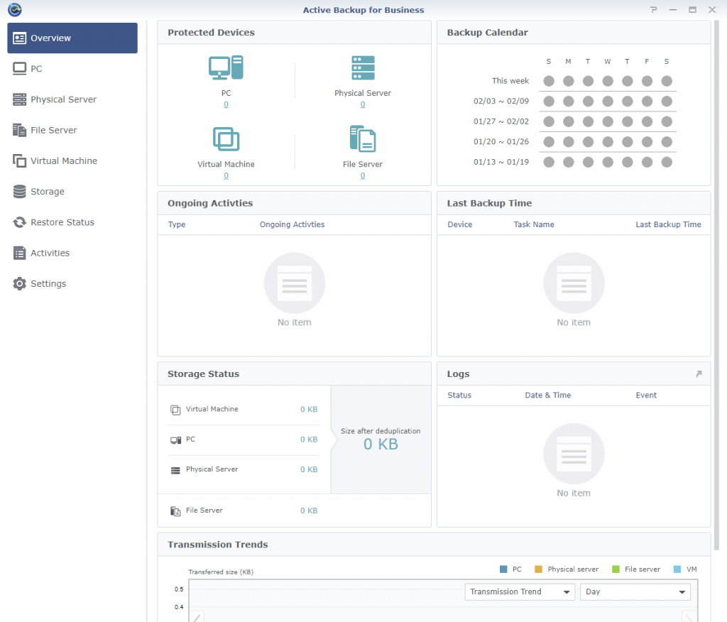 Synology Active Backup for Business Home Page