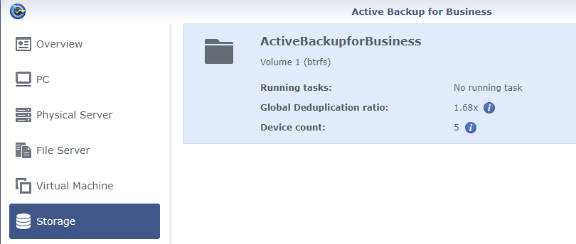 Synology Active Backup for Business Home Storage Status Deduplication Ratio