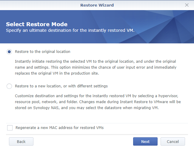 Synology Active Backup for Business Restore Wizard Select Restore Mode