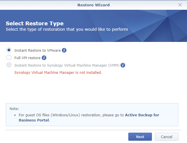 Synology Active Backup for Business Restore Wizard Select Restore Type