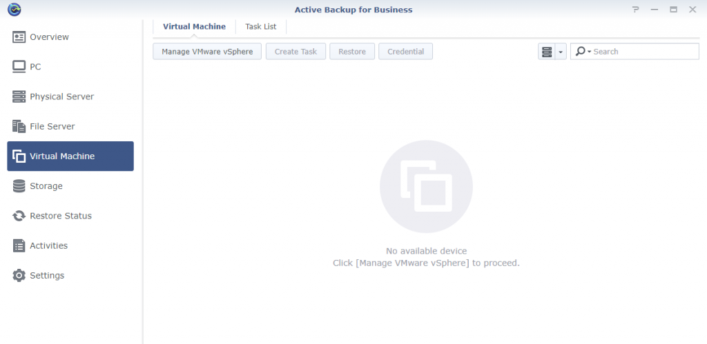 Synology Active Backup for Business Virtual Machine Page