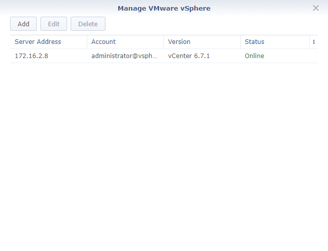 Synology Active Backup for Business Virtual Machine Page vCenter Configured Online