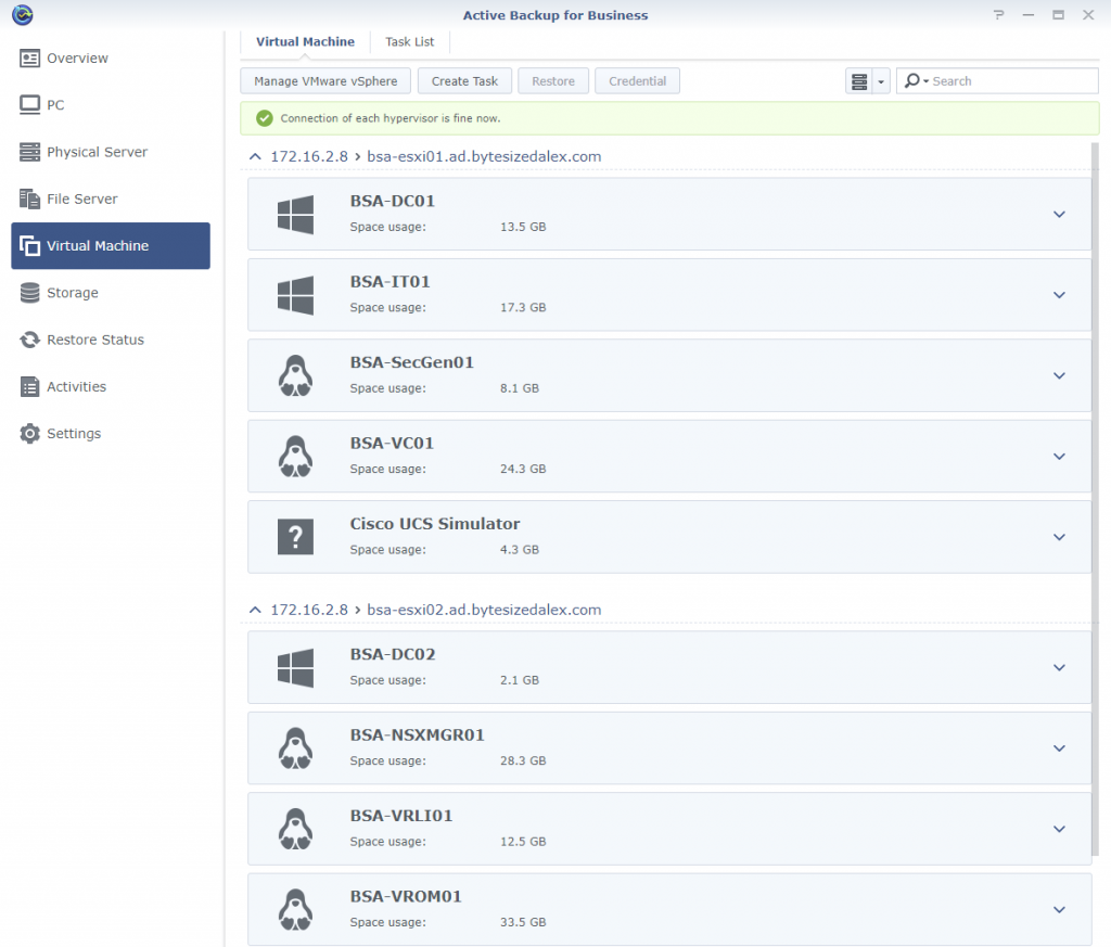 Synology Active Backup for Business Virtual Machine Page vCenter Inventory Populated
