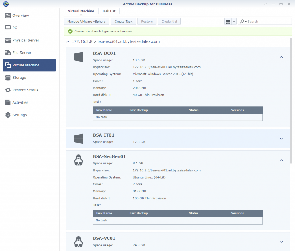 Synology Active Backup for Business Virtual Machine Page vCenter Inventory Populated Detailed VM Information