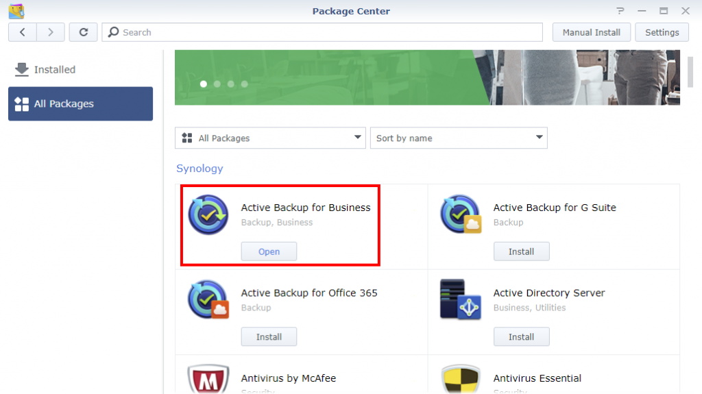 Synology Package Center Active Backup for Business Installed